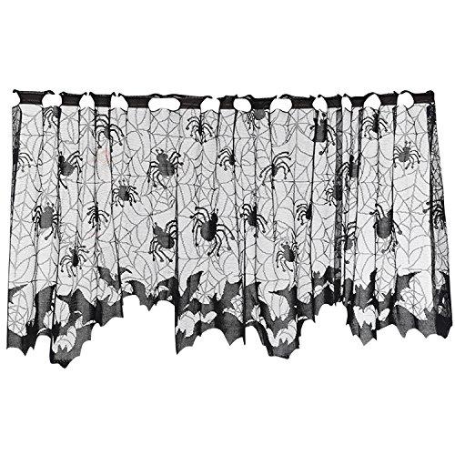 LAEMILIA Halloween Vorhang Spitze Fledermaus Spinnennetz Gothic Party Wand Fenster Kamin Abdeckung Deko