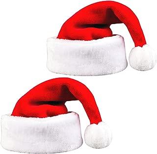 Homezal 2 Pack Santa Hats, Comfort Extra Large Thick Plush Xmas Santa Hats for New Year Festive Holiday Party Supplies 18.5 x 12.2 Inch