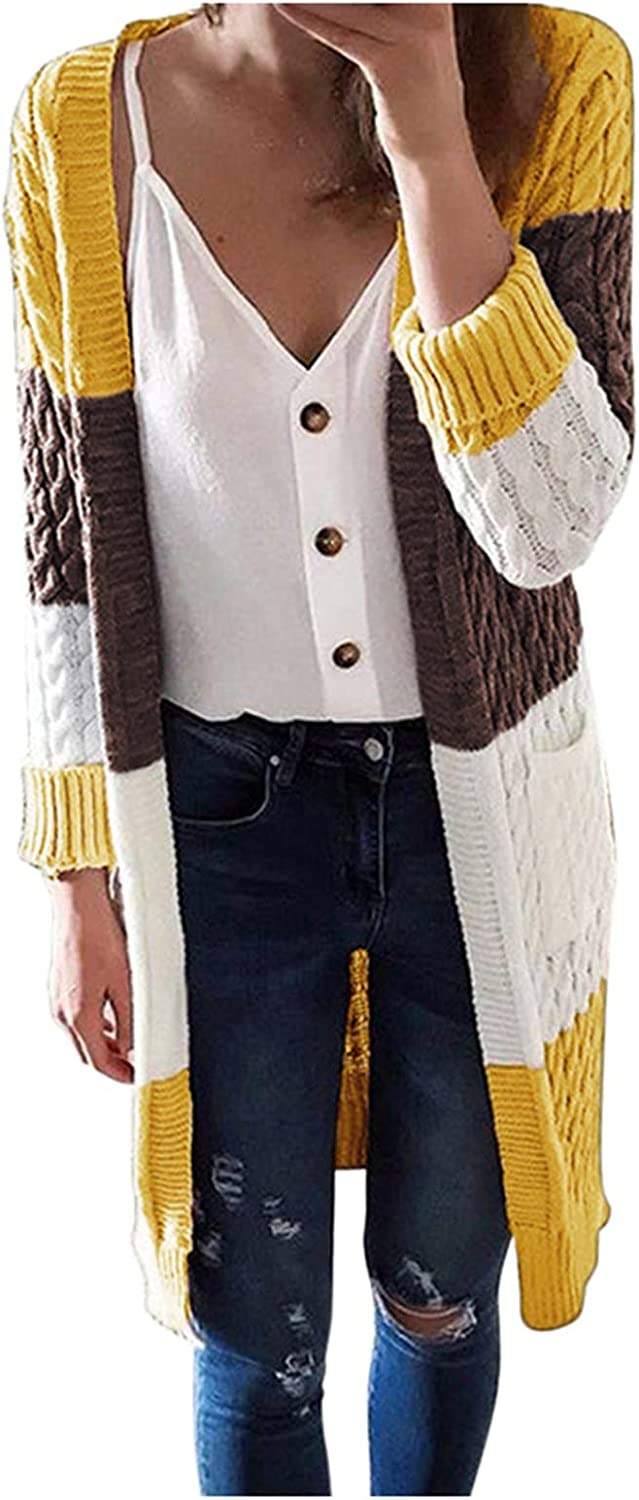 FACAIAFALO Women's Long Sleeve Cable Knit Sweater Front Cardigan Button Loose Outerwear Open Front Cardigan Sweater