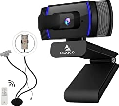 AutoFocus 1080P Webcam with Ring Light Stand Kits, N930AF FHD USB Web Camera with Privacy Cover, Flexible Desk Mount Clam...