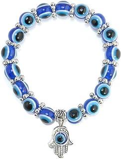Hamsa Charm Blue Evil Eye Beaded Bracelet-ST0750