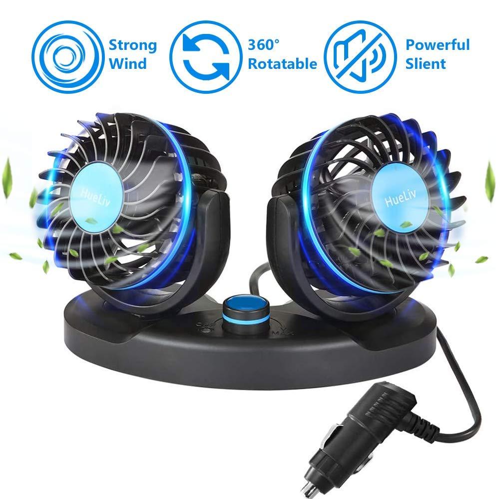 HueLiv Ventilador de Coche, Ajustable Ventilador Eléctrico con ...