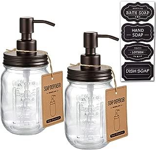 Mason Jar Soap Dispensers –Bronze -Rustproof 304 Stainless Steel Mason Jar Lid &Pump – Great for Hand Soap, Lotions,Dish Soap, Liquid Soap,Bath Soap-Farmhouse Décor for Bathroom & Kitchen sink(2 Pack)