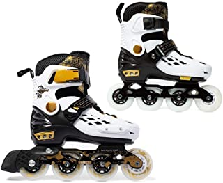 YF YOUFU Adjustable Inline Skates for Boys/Girls/Kids/Adult, Roller Skate/Blades with Triple Protection, Front Foot Shield, Hard PU Wheels, Patines with Light-up Wheel for Youth, Men, Women