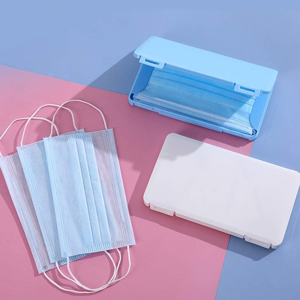 6 piezas Organizador de caja de almacenamiento de pl/ástico Cajas de almacenamiento port/átiles con tapas Carpeta reutilizable Clip de almacenamiento a prueba de polvo para cubierta facial Blanco