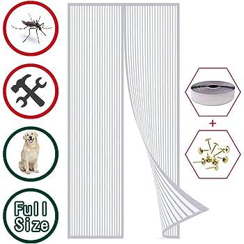 Animali Domestici Bianco 110x240cm Magneti Garage WISKEO Zanzariere Senza Viti Magnetica Porte Scorrevoli A Grandezza Naturale Punch Gratuito Zanzara Adesivi