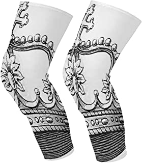 Knee Sleeve Crown Tattoos Black Full Leg Brace Compression Long Sleeves Pant Socks for Running, Jogging, Sports, Crossfit, Basketball, Joint Pain Relief, Men and Women 1 Pair