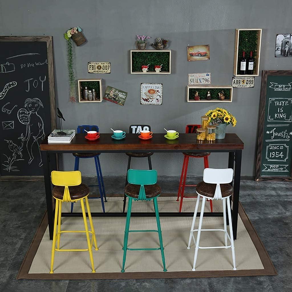 LUO Chaise Tabouret de bar Tabouret haut Chaise de réception Chaise de réception Tabouret de beauté Iron Art Dossier en bois massif Chaise Creative,A A