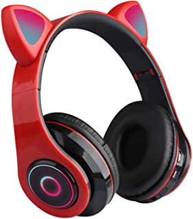 $29 » B39 Over Ear Music Headset Cat Ear Glowing Headphone Foldable Wireless BT5.0 Earphone Hands-Free with Mic AUX in TF Card M...
