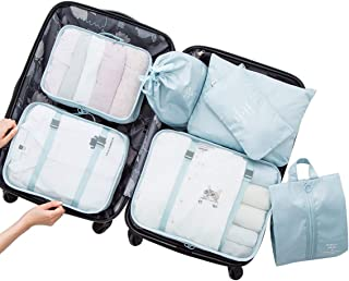 FLORICA Packing Cubes 7 Pcs Travel Luggage Packing Organizers Set with Toiletry Bag