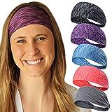 Wide Boho Headbands for Womens, Wicking Workout Bandana, Exercise Stretchy Head wrap Yoga Headscarf, Sports Sweatbands, Fitness Tennis Running Gym