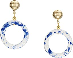 "2.5"" Gold Ball Top with White and Blue Ceramic Open Circle Drop Clip Earrings"