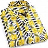 Camisas Hombres,Camisa A Cuadros De Manga Larga para Hombre Camisas Casuales De Algodón A Cuadros Amarillos Clásicos con Botones De Bolsillo Padre Novio, XL