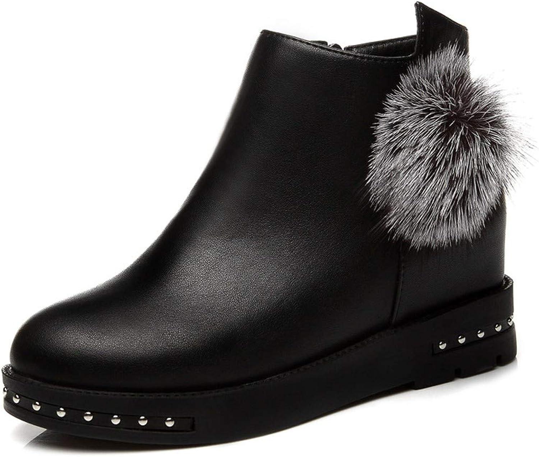 GTVERNH Women's shoes Short Boots Slope Heels Martin Boots Women's Boots