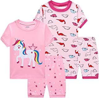 Benaive Pajamas for Girls, Pjs for Toddler Girl Cotton Summer Pajama, 4-Piece Children Sleepwear, Lounge Shorts Set