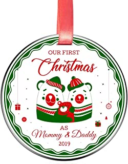 Elegant Chef New Parents Our First Christmas as Mommy & Daddy 2019 Ornament- Xmas Holidays Decoration- 1st Time Mom Dad Newborn Festival Decor Keepsake- 3 inch Flat Stainless Steel