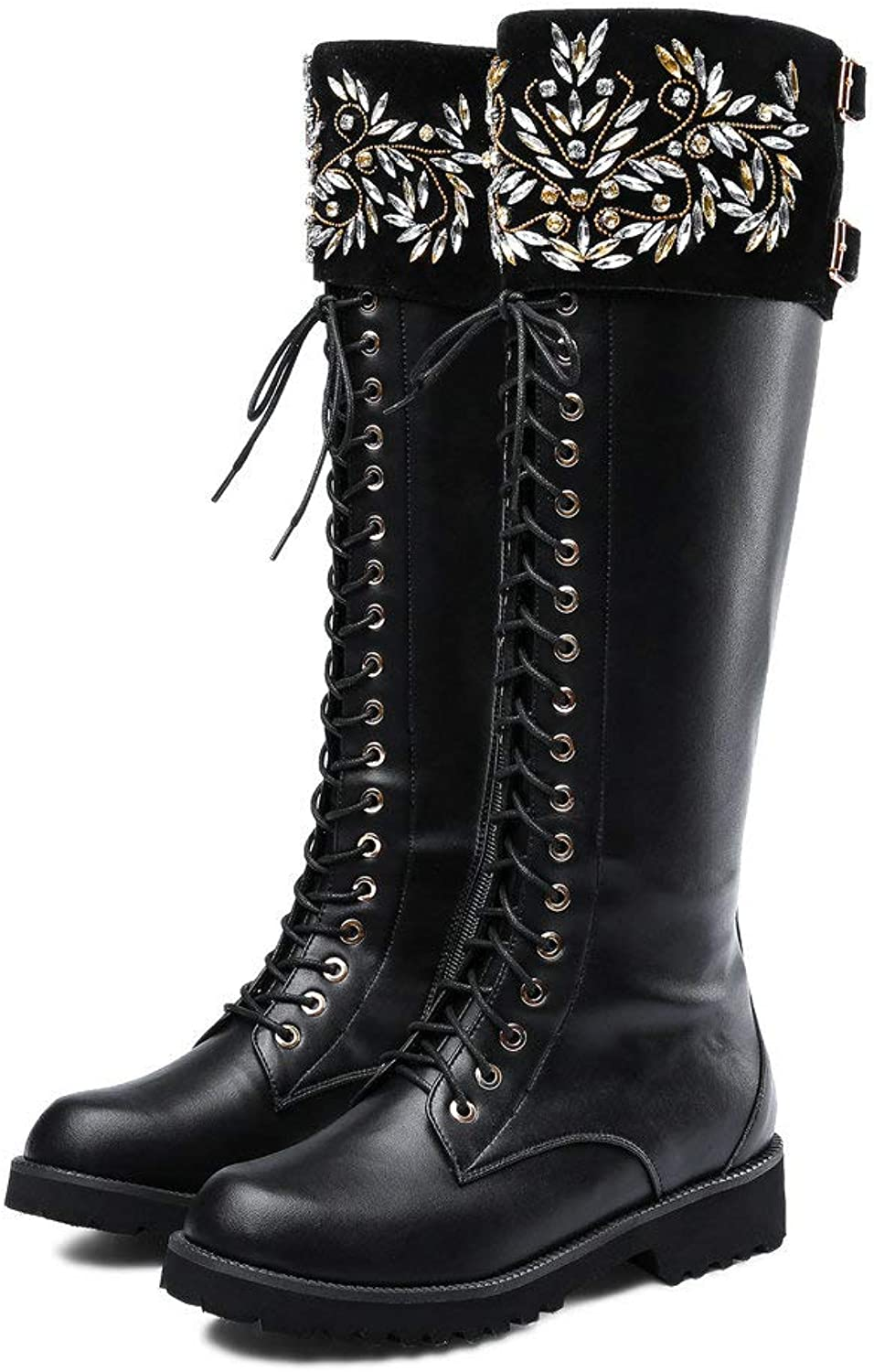 AnMengXinLing Women Knee High Combat Boot Lace Up Crystal Buckle Low Chunky Heel Motorcycle Riding Winter Leather Booties