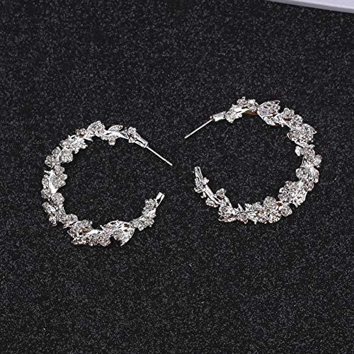 FGFDHJ Carved Rose Flower Leaf Dangle Earrings for Women Statement Golden Big Circle Round Earrings Wedding Party
