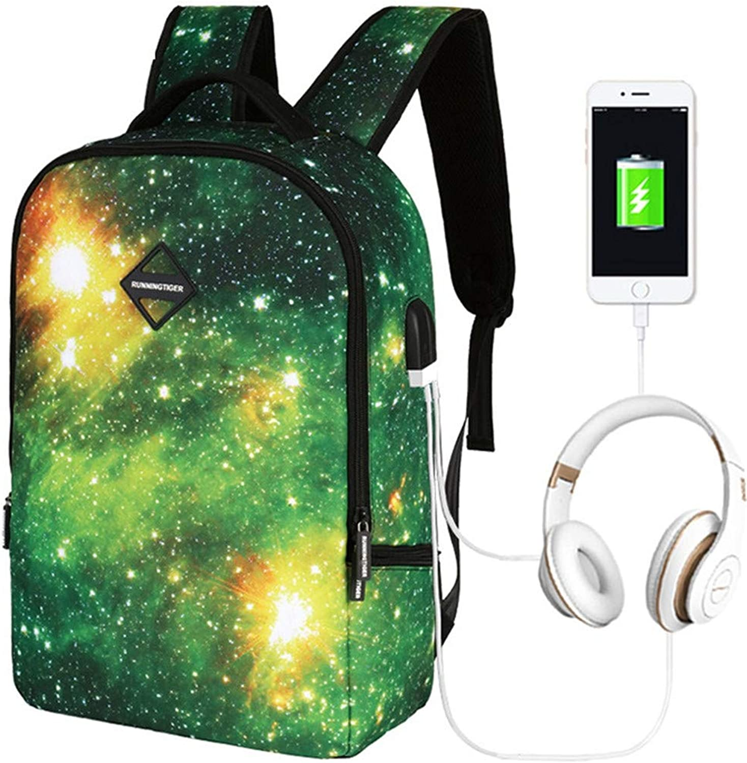 Unisex Nylon Galaxy School Backpack for Boys Girls Laptop Bag Sports Traveling Daypack with USB Charging Port and Headphone Jack