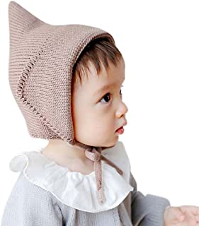 Etosell Witches Hat Knitted Girls Boys Lace-Up Solid Color Baby Bonnet Newborn