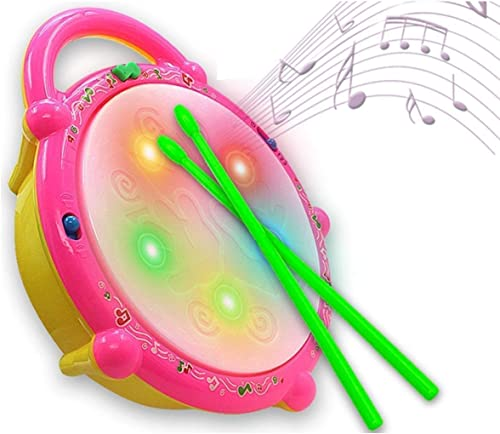 N Dim Flash Drum with Sticks Pink and Yellow