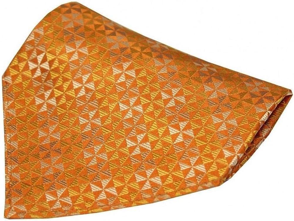 David Van Hagen Mens Windmill Design Silk Handkerchief - Burnt Orange