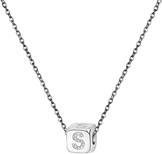 KunBead Initials Necklace Silver for Women 26 Letter Love Crystal Square Cube Pendant Necklace for Girls