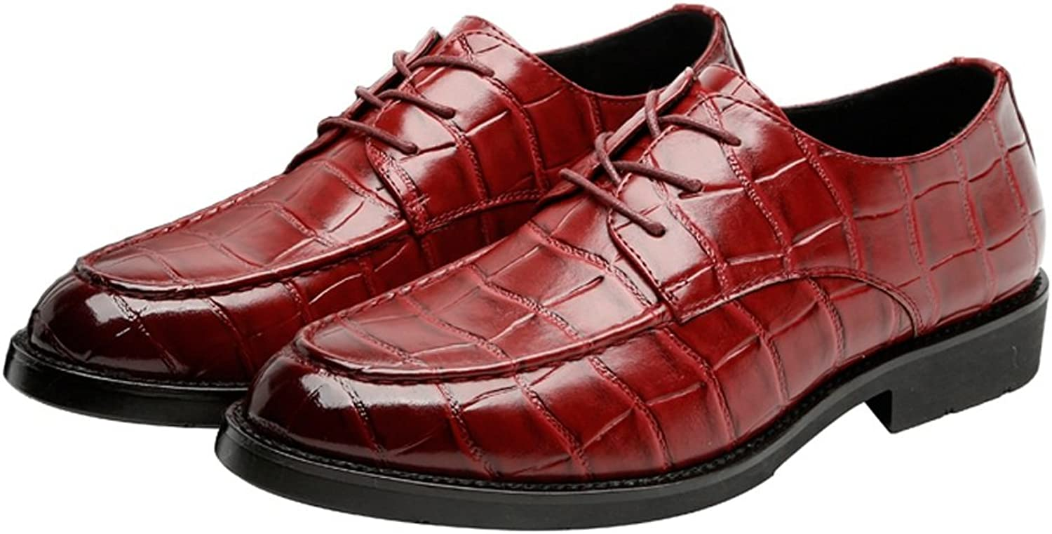Z.L.F shoes Men's PU Leather Retro shoes Square Texture Upper Lace Up Breathable Business Low Top Lined Oxfords (Loafer Optional) Leather shoes