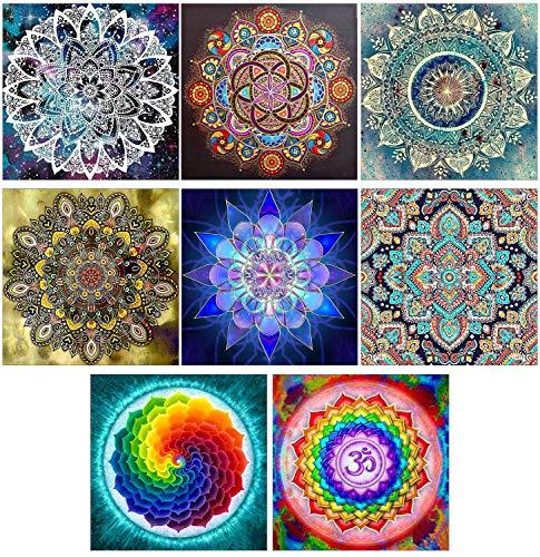 8 Sets 5d Diamond Painting by Numbers Diamond Art Dotz Mandala Full Drill Kits for Adults Kids Beginner Mandala Flower for Home Wall Decor (B Pack of 8 Sets, 9.8X9.8 INCH)
