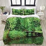HASENCIV 布団カバー 3点セット 高級寝具カバーセット シーツ 速乾性 ファッション柄、木深い森林森の中で葉葉の緑豊かな田園風景 枕カバー付き クィーン(210x210cm)