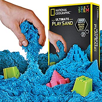 National Geographic Ultimate Play Sand Blue 2 Lbs With 6 Castle Molds