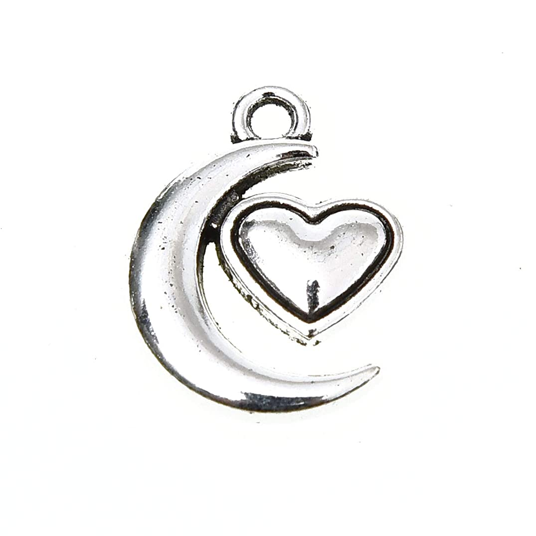 Monrocco 60Pcs Moon Heart Charms Antique Silver Floating Pendants for Jewelry Making Necklace Bracelet DIY