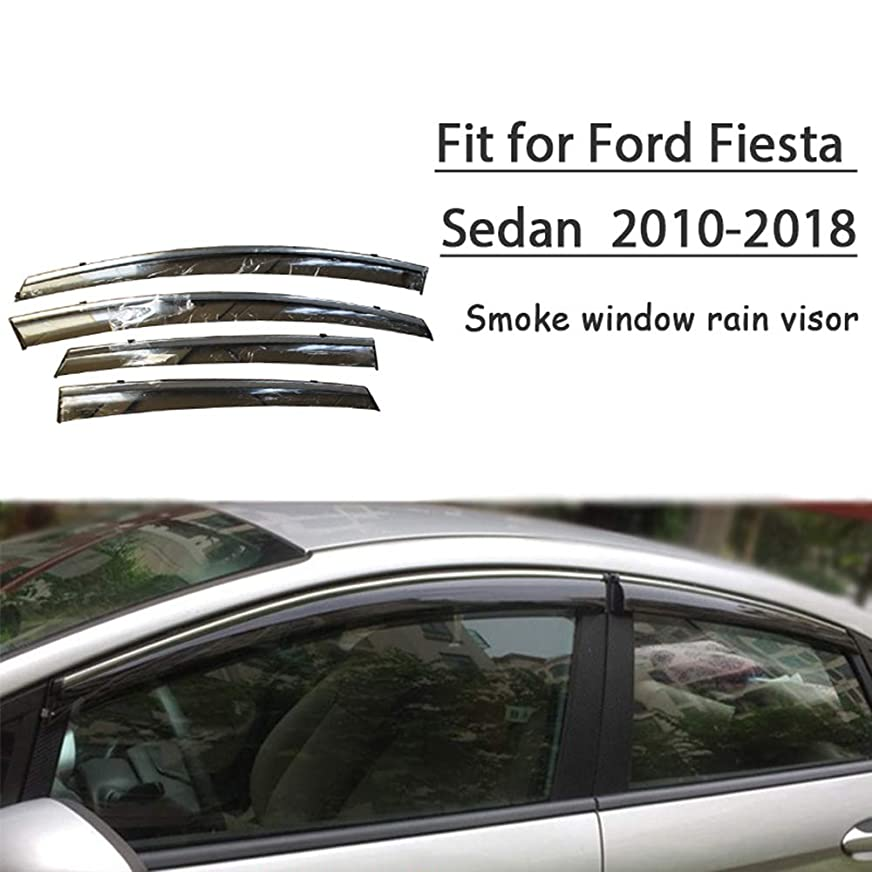 不健全緩めるパパSENLINSQ フォードフィエスタセダン2010-2018、4ピースABS車の煙窓サンレインバイザーデフレクターガードアクセサリー