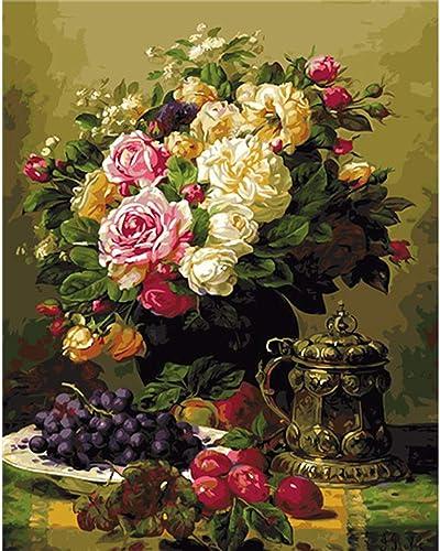 exclusivo CHAORENZHU 40X50 DIY Flor Flor Flor Pintura por número Fotos Digitales Pintura al óleo sobre algodón Home Wall Art para Sala de Estar  Mejor precio
