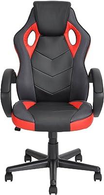 n.b.f fateuil de escritorio Gaming deporte asiento Racing para ordenador PU piel sintética rojo negro