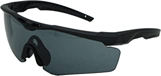 Tactical Sunglasses with Smoke Grey Lens, Clear Extra Lens, Matte Black Frame and Anti-Scratch, Anti-Reflect Lenses, UV400 Protection, ANSI Z87.1 & MIL-PRF-31013 Certified