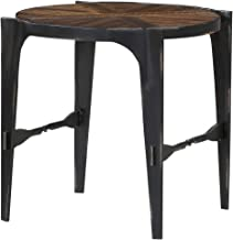 Bristol Round End Table in Glowing Brunette with Pieced Wood Top And Forged Steel Legs, by Artum Hill