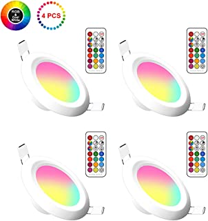 Lemonbest 4 Pack 3 Inch Color Changing 5W LED Ceiling Downlight Recessed Lighting kit for Decoration Lighting lamp 110V with Safe Built- in Transformer Remote Controller (RGB+ Cool White)