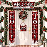 4 Pieces Christmas Plaid Porch Sign Holly and Jolly Banner Welcome Hanging Sign with Snowflake Reindeer Snowman Tree Pattern for Christmas Indoor Outdoor Decorations