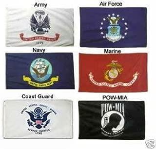 2X3 2ft x 3ft Military 5 Branches & Pow Mia DOUBLE SIDED Nylon FLAG Set Flags