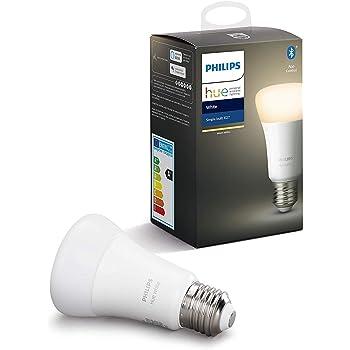 Philips Hue White Lampadina LED Connessa, con Bluetooth, Attacco E27, Dimmerabile, 60W, Luce Bianca Calda, 1 Pezzo