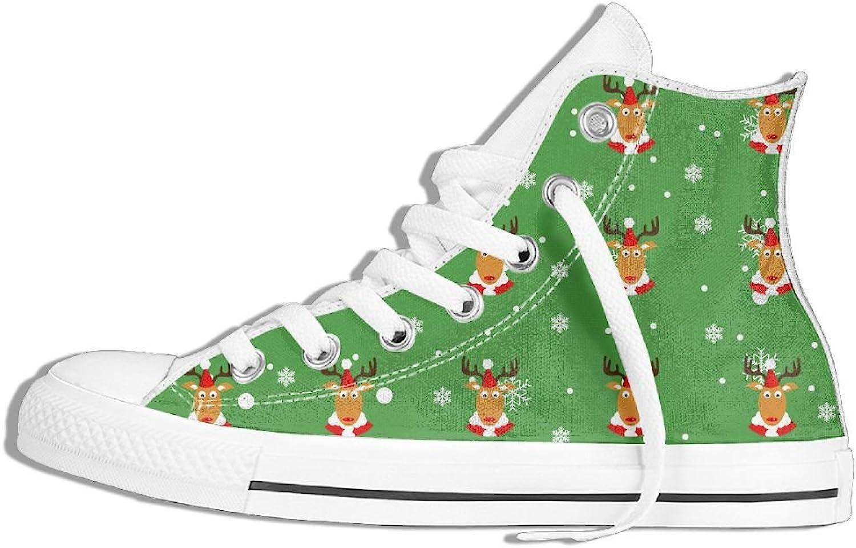 Efbj Christmas Deer Unisex Fashion High Top Canvas Sneaker for Men and Women