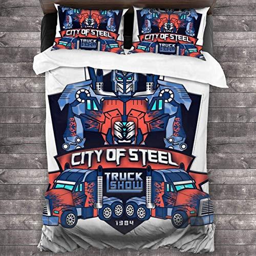 Qoqon City of Steal Optimus Prime Truck Show TRAN-SFORMERS Juego de Cama de 3 Piezas Funda nórdica Juego de Cama Decorativo de 3 Piezas con 2 Fundas de Almohada