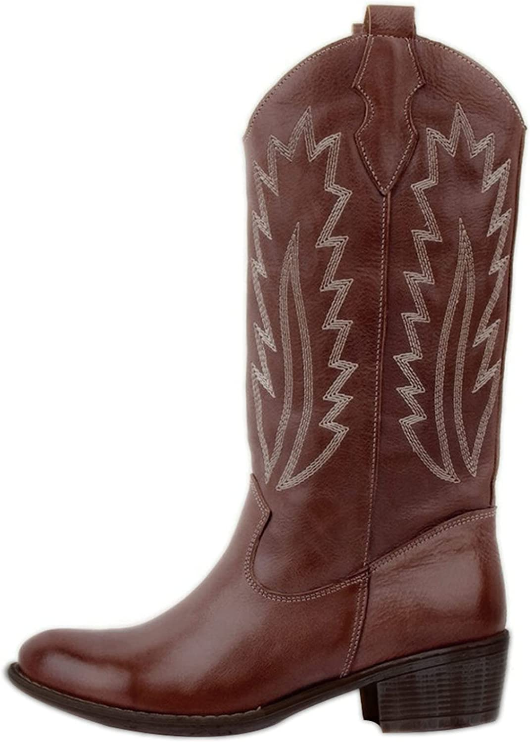 ZiSUGP Cowboy Boots For Women Pointed Toe Chunky Low Heel Wester