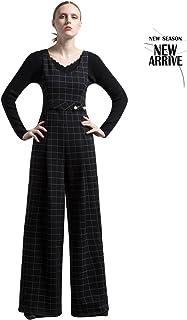 レディースチェック柄ジャンパーニットジッポーツレジャーファッションパーソナリティワイドレッグパンツ ガールズ (Size : L)