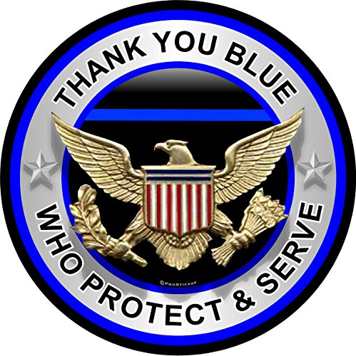 """ProSticker 306 (One) 4"""" Patriot Series Thank You Blue Who Protect and Serve Thin Blue Line Support Decal Sticker"""