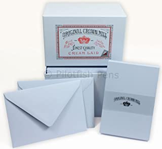 Original Crown Mill Luxury A6 Writing Cards Box Set with Lined C6 Envelopes - Blue (Pack of 50)