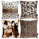 Faylapa 4 Pack Soft Plush Leopard Print Pillow Covers,Animal Theme Print Faux Fur Decorative Throw Pillowcase Home Decor Cushion Cover 18×18 Inches (45×45cm)(Case ONLY)