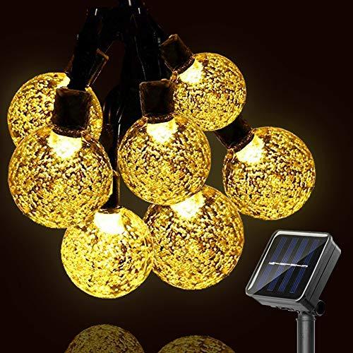 GEYUEYA Home LED Solar Lichterkette Garten, Lichterkette Kristall Kugeln Warmweiß 5M 30 LEDs 8 Modi IP65 Wasserdicht Außenlichterkette Deko für Garten, Terrasse, Hochzeiten, Partys, Innen und außen
