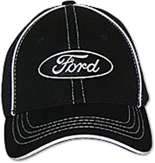 Gregs Automotive Compatible Ford Oval Hat Cap Flex-Fit - Bundle with Driving Style Decal (Black)